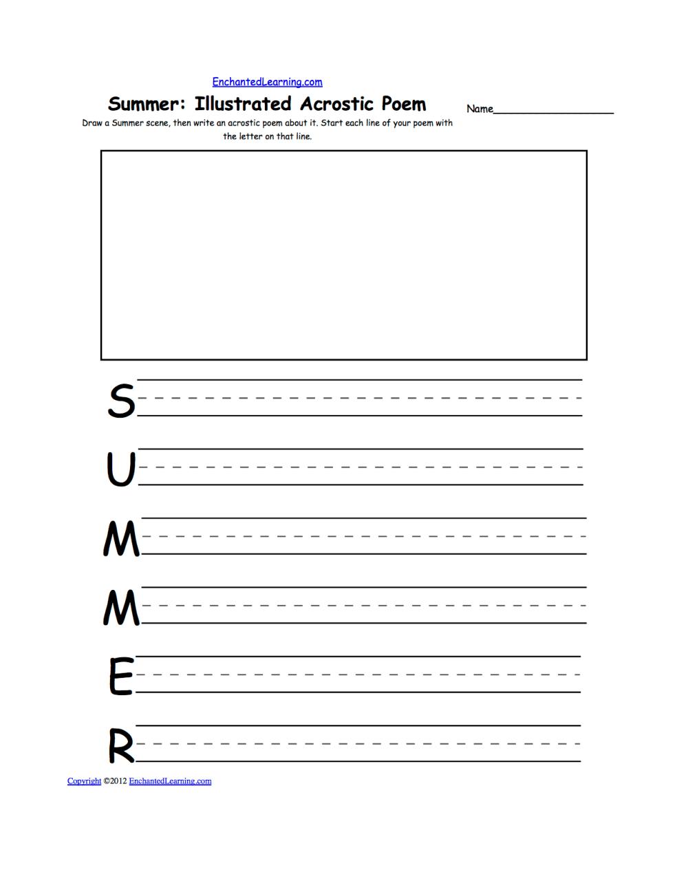medium resolution of Illustrated Acrostic Poem Worksheets: Worksheet Printout -  EnchantedLearning.com