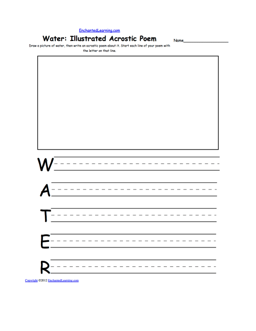 small resolution of draw a picture of water then write an acrostic poem about it start each line of your poem with the letter on that line