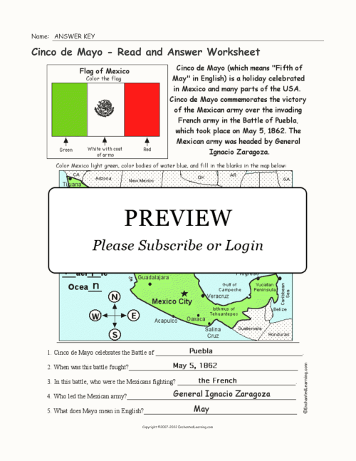 small resolution of Cinco de Mayo - Read and Answer Worksheet - Enchanted Learning