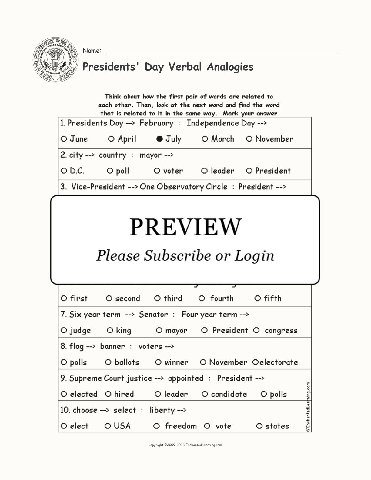 Presidents Day Verbalogies