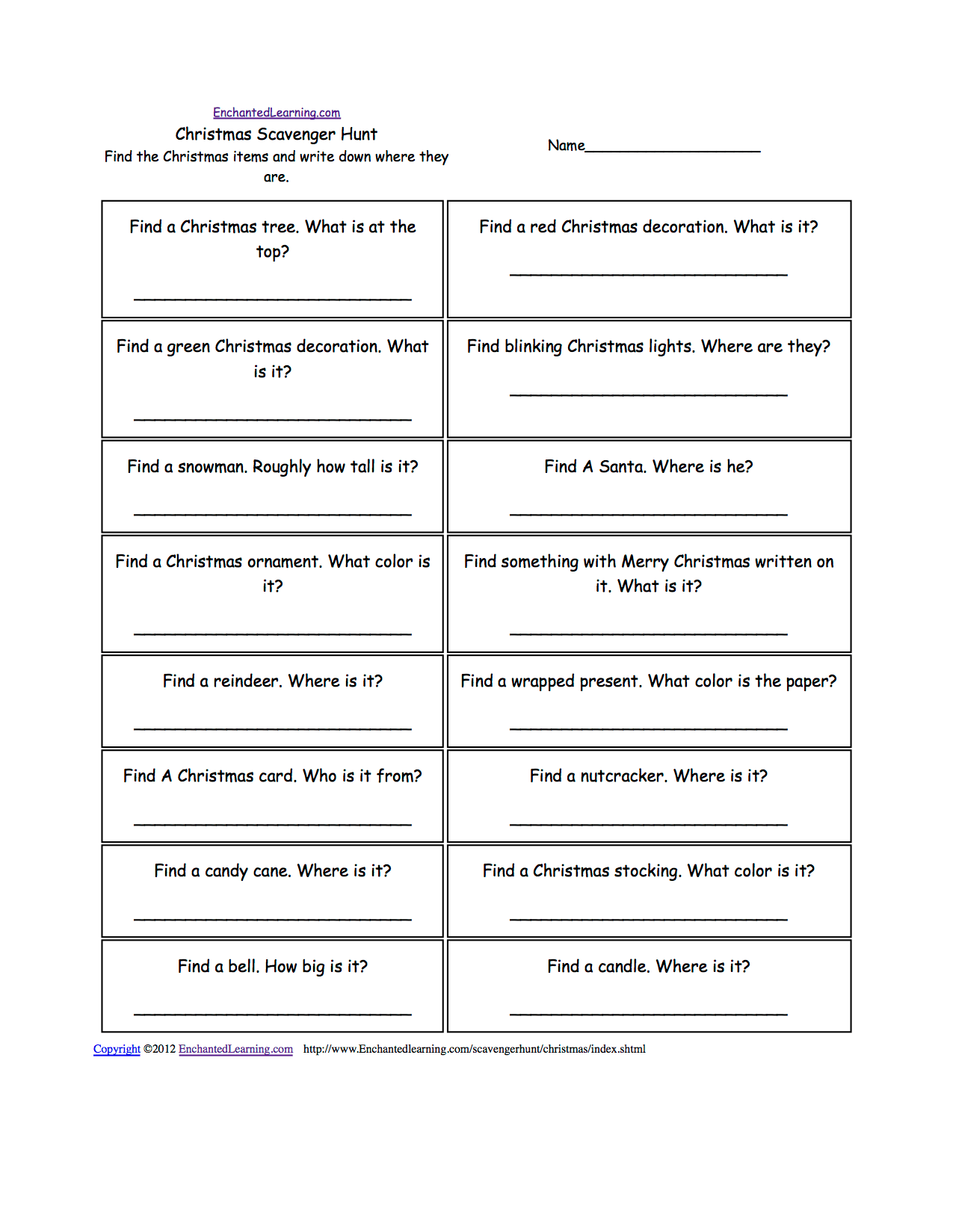 Scavenger Hunts To Print Enchantedlearning