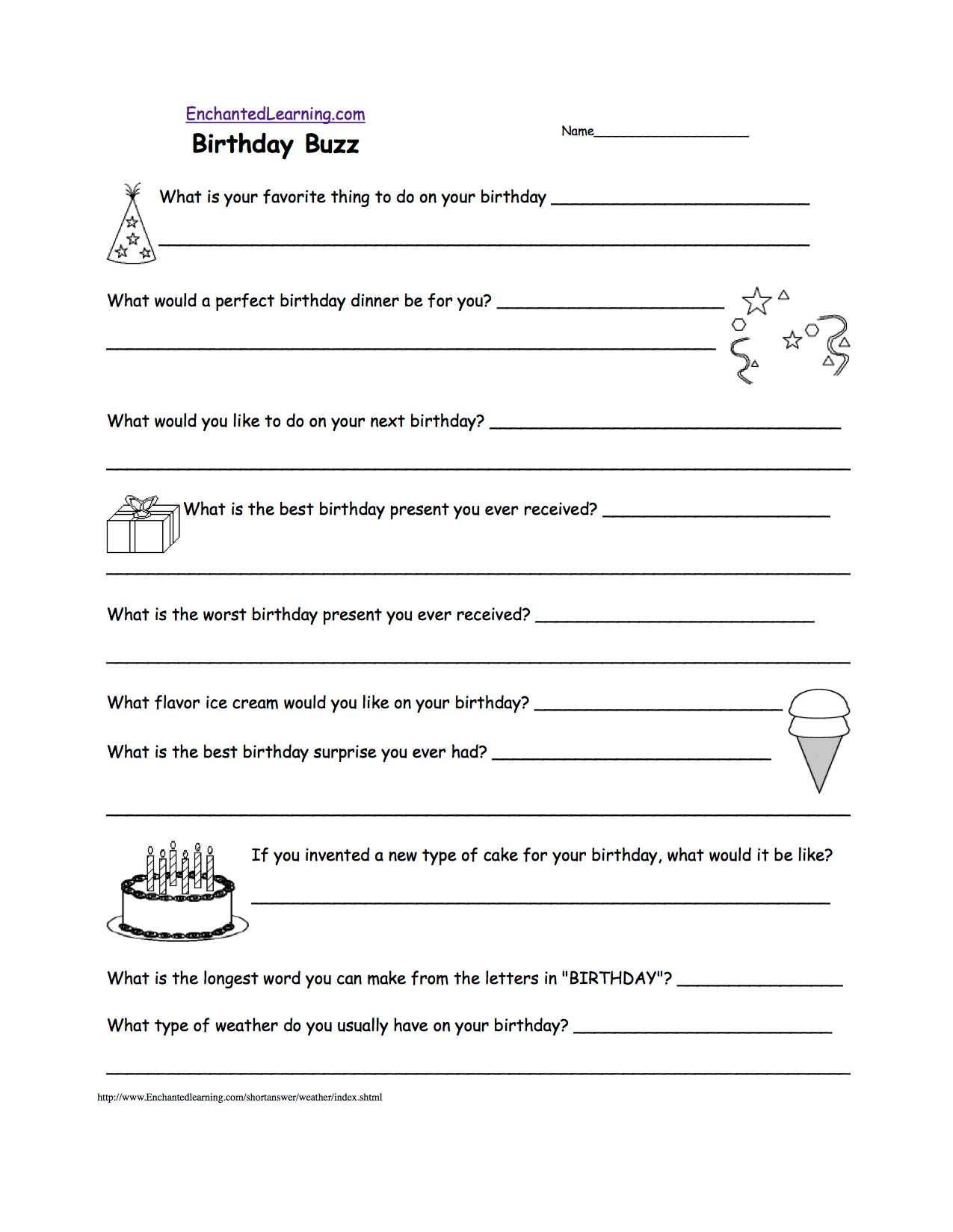Writing Worksheets Birthday Activities At Enchantedlearning