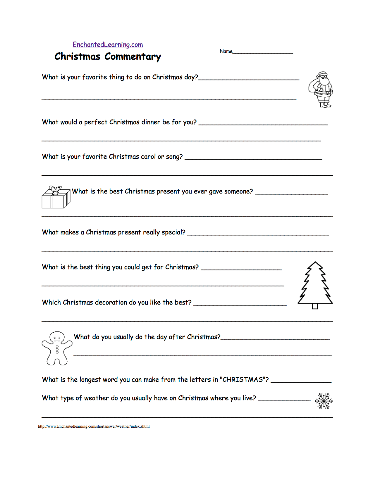 Christmas Junior High Math Worksheet
