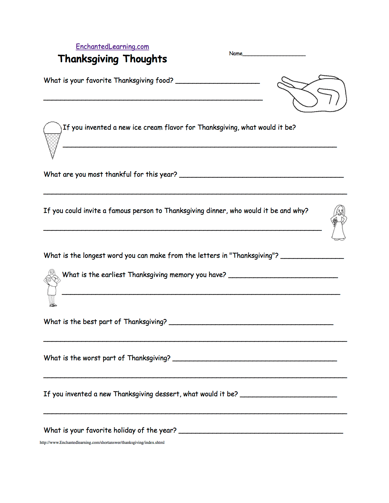 Thanksgiving Writing Worksheets