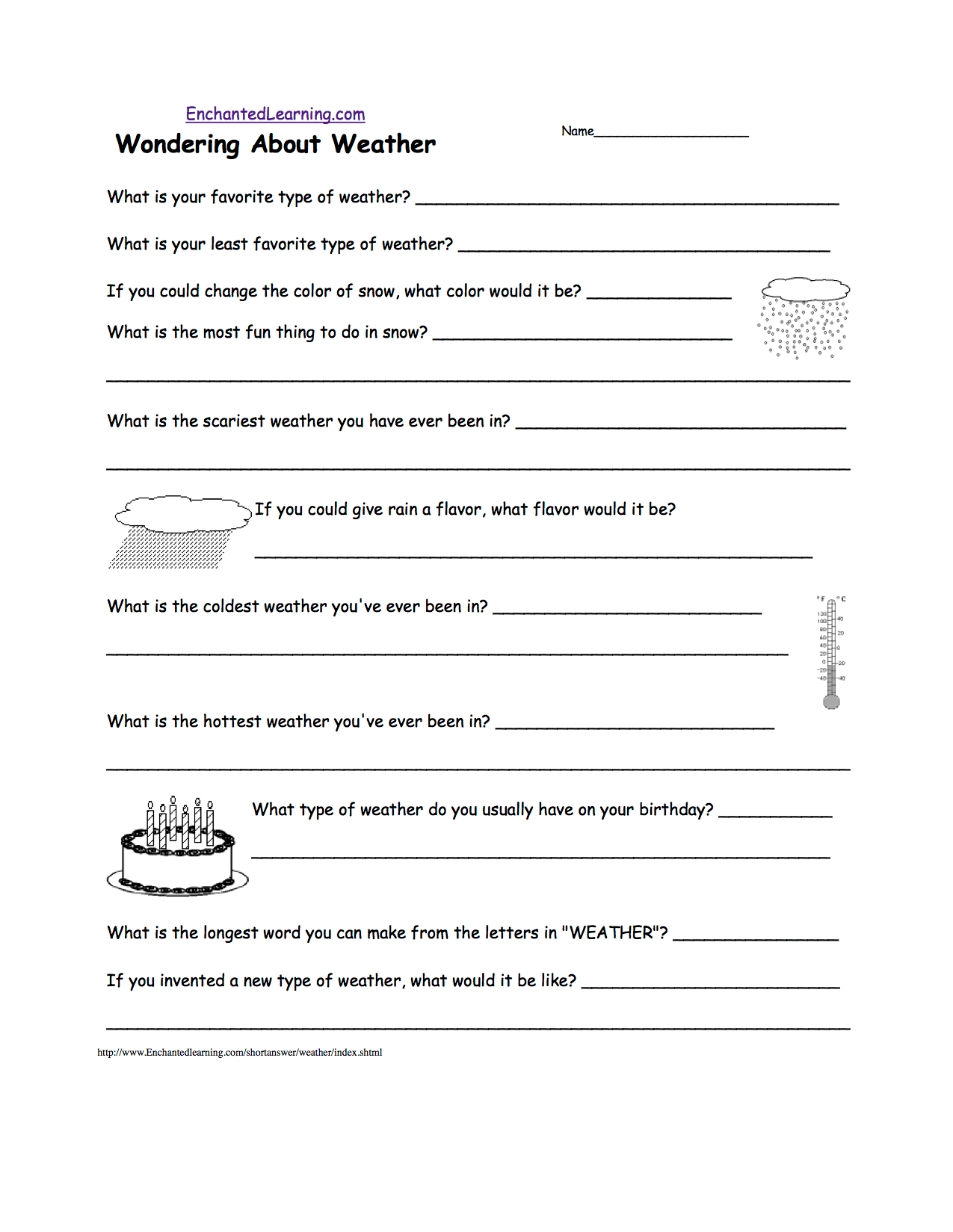 hight resolution of Weather-Related Writing Activities at EnchantedLearning.com