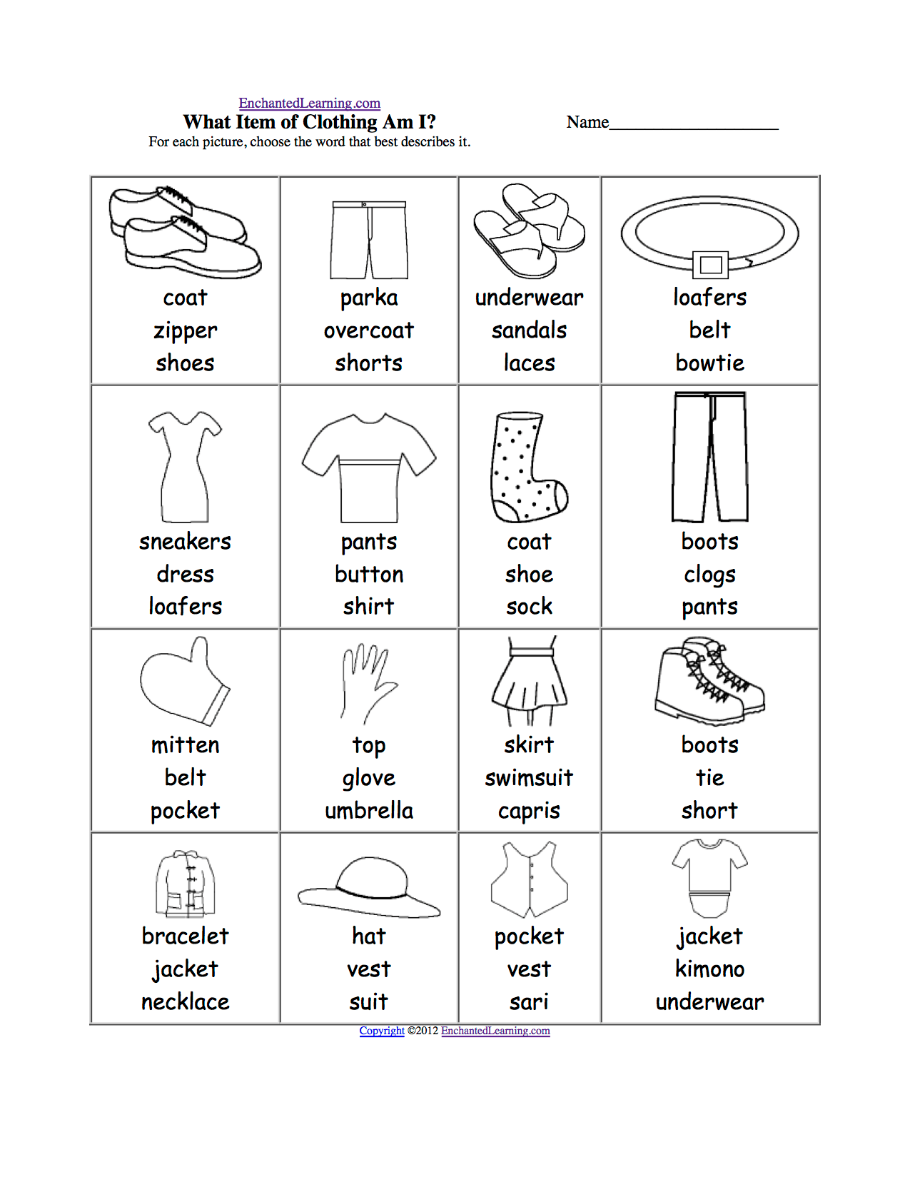 Home And Household Multiple Choice Spelling Words At