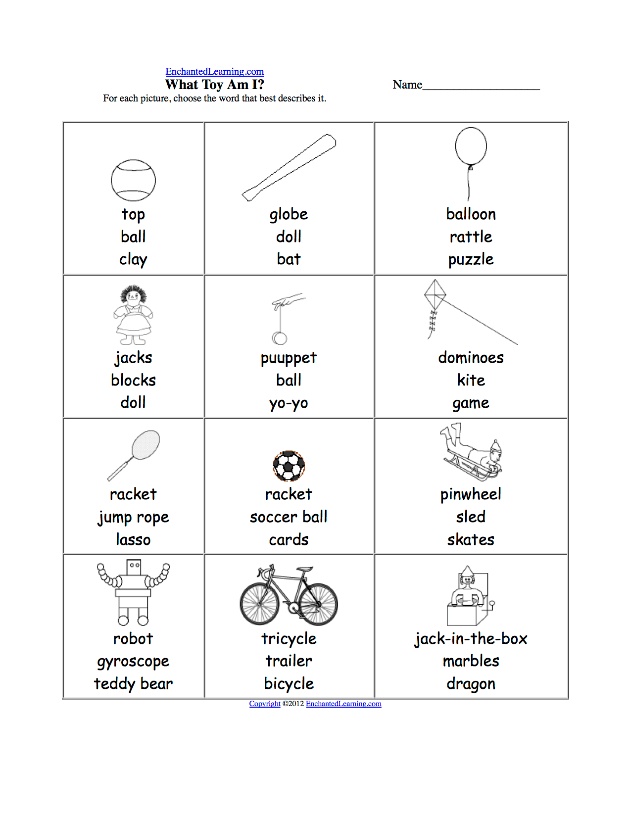 Sports Multiple Choice Spelling Words At Enchantedlearning