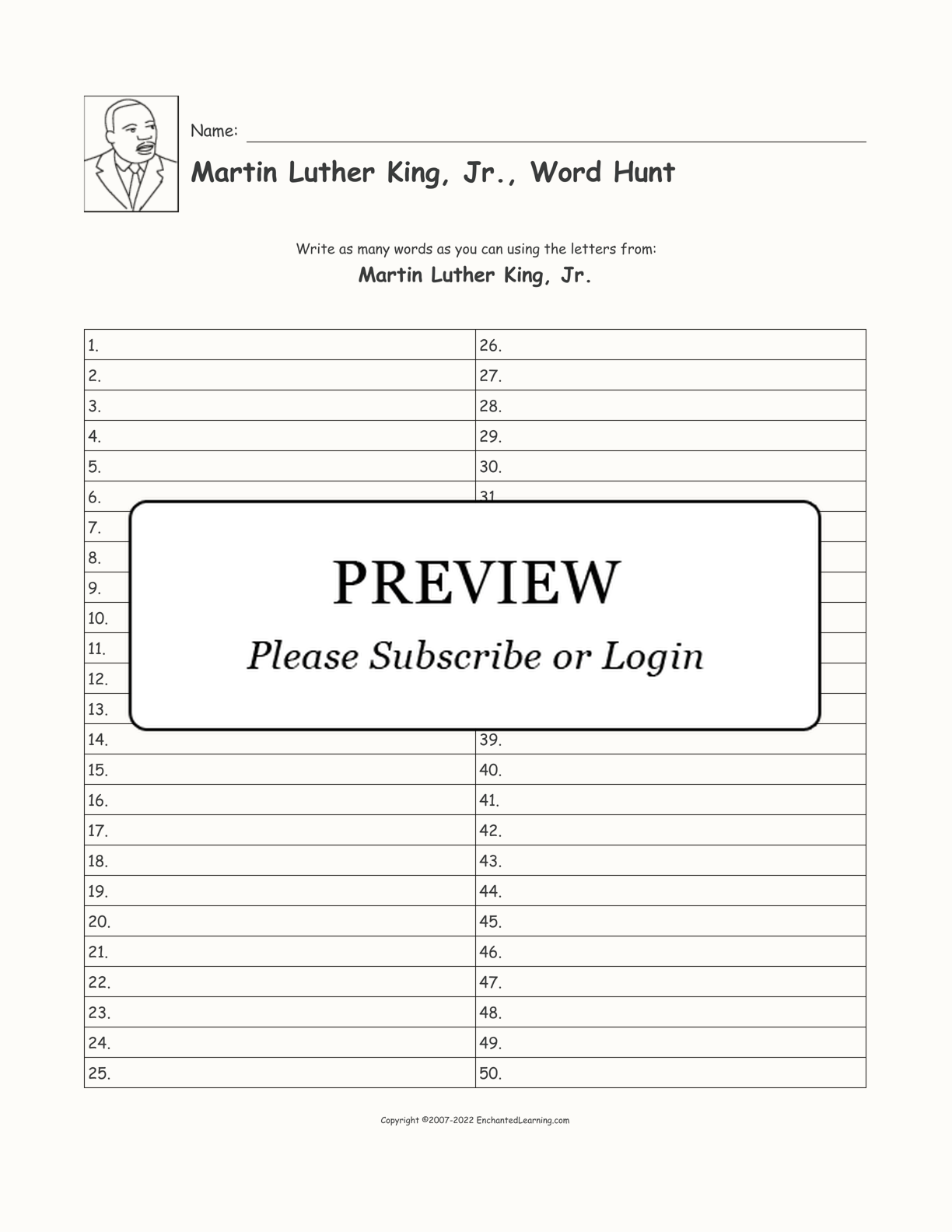 Martin Luther King Jr 50 Blank Word Hunt