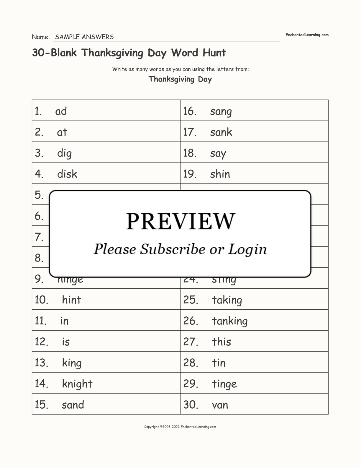 30 Blank Thanksgiving Day Word Hunt