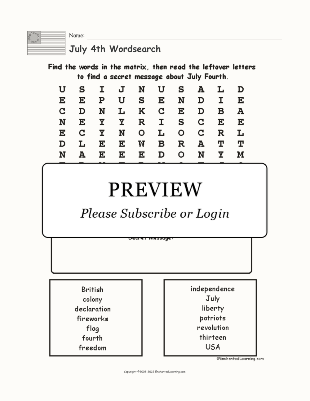 medium resolution of July 4th Wordsearch - Enchanted Learning