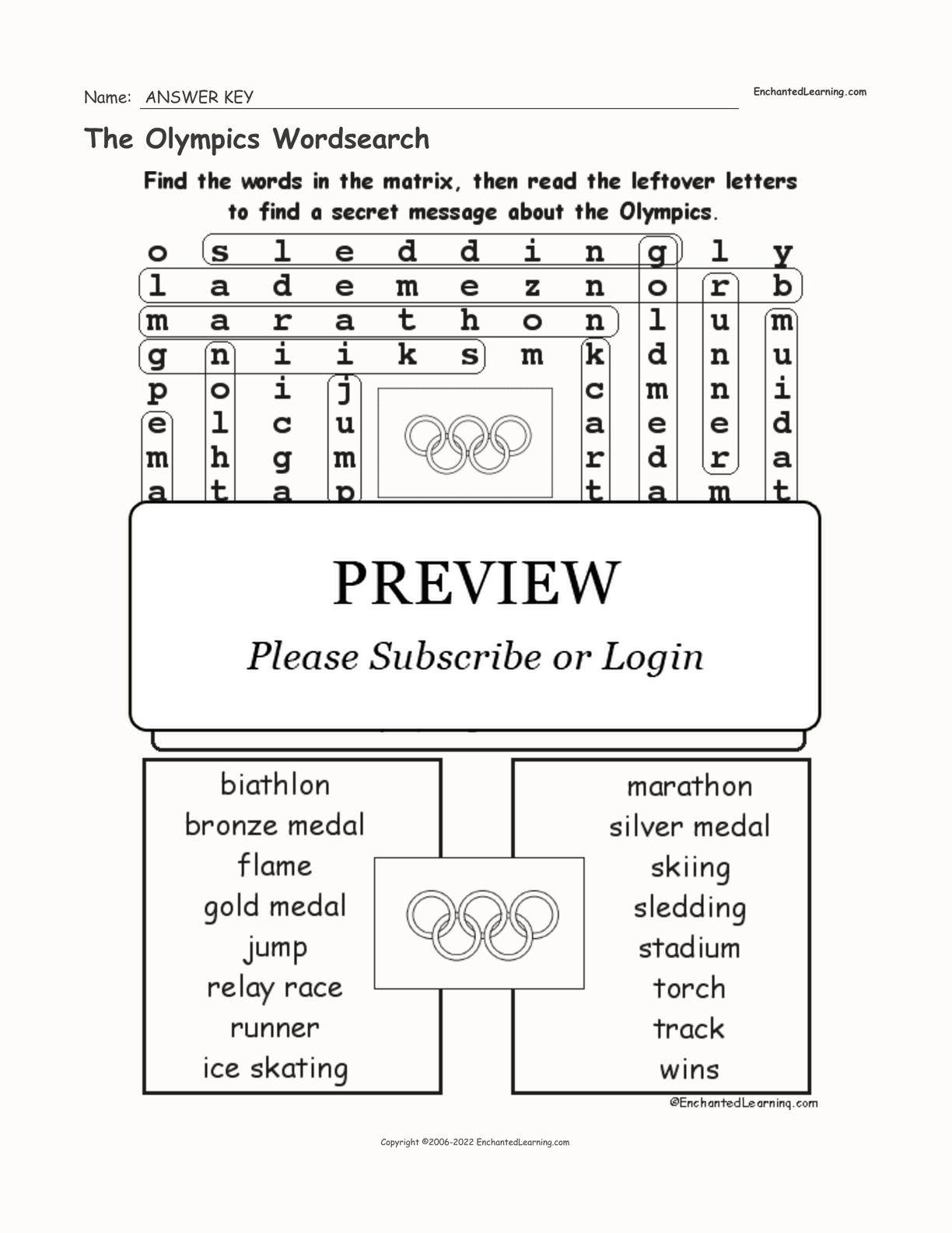 The Olympics Wordsearch
