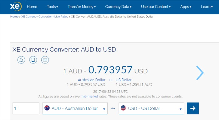 XE Currency AUD to USD