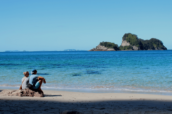 Lovers Looking Out At Cathedral Cove