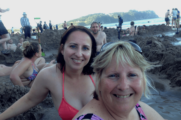 Mum and I at Hot Water Beach