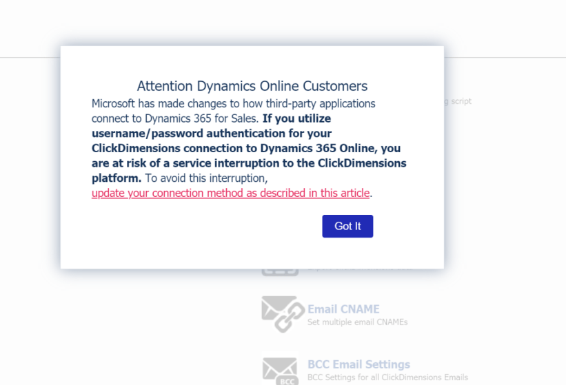 ClickDImensions Authentication