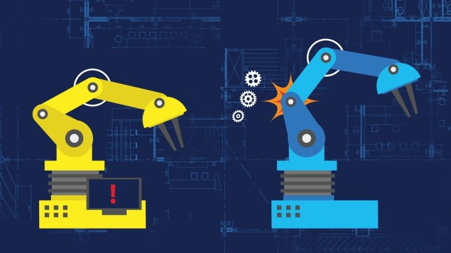 an image of factory automation equipment breaking