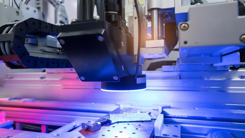 a picture of machine vision in action on an assembly line.