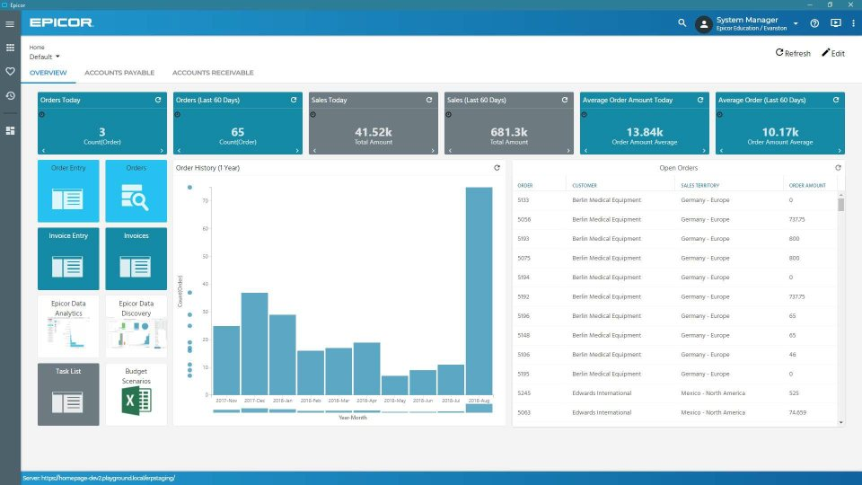 Active Home Page— Built on the Epicor Kinetic Framework, the Active Home Page offers a user experience that is both intuitive and visual for optimum productivity as part of the Epicor Business Architecture
