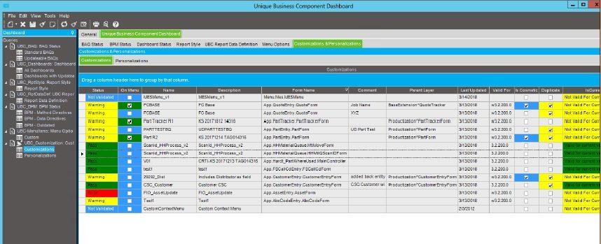 epicor erp cloud 10.2.600 UBC customziation tab