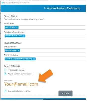 an image of epicor erp cloud 10.2.600 update notification preferences
