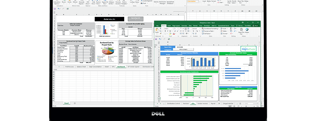 an image of Epicor Kineti spreadsheet server running in on a laptop pc