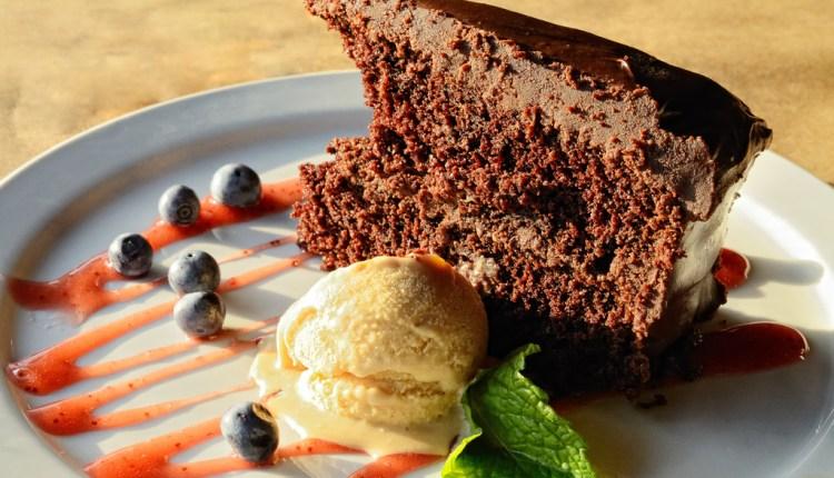Chocolate cake with caramel ice cream