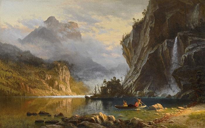 Indians Spear Fishing by Albert Bierstadt