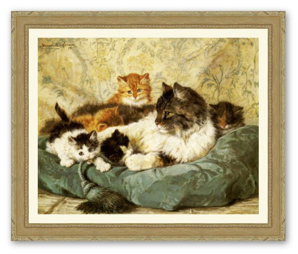 A Cat with Her Kittens by Henriette Ronner Knip