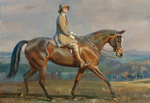 Portrait of Mrs. Margaretta Park Frew Riding by Alfred James Munnings