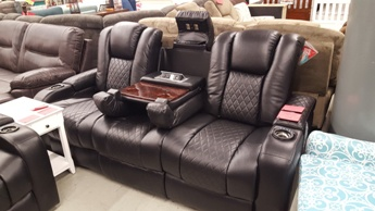 power reclining sofa made in usa backrest designs encore home furnishings the coaster delangelo black with drop down adjustable headrests