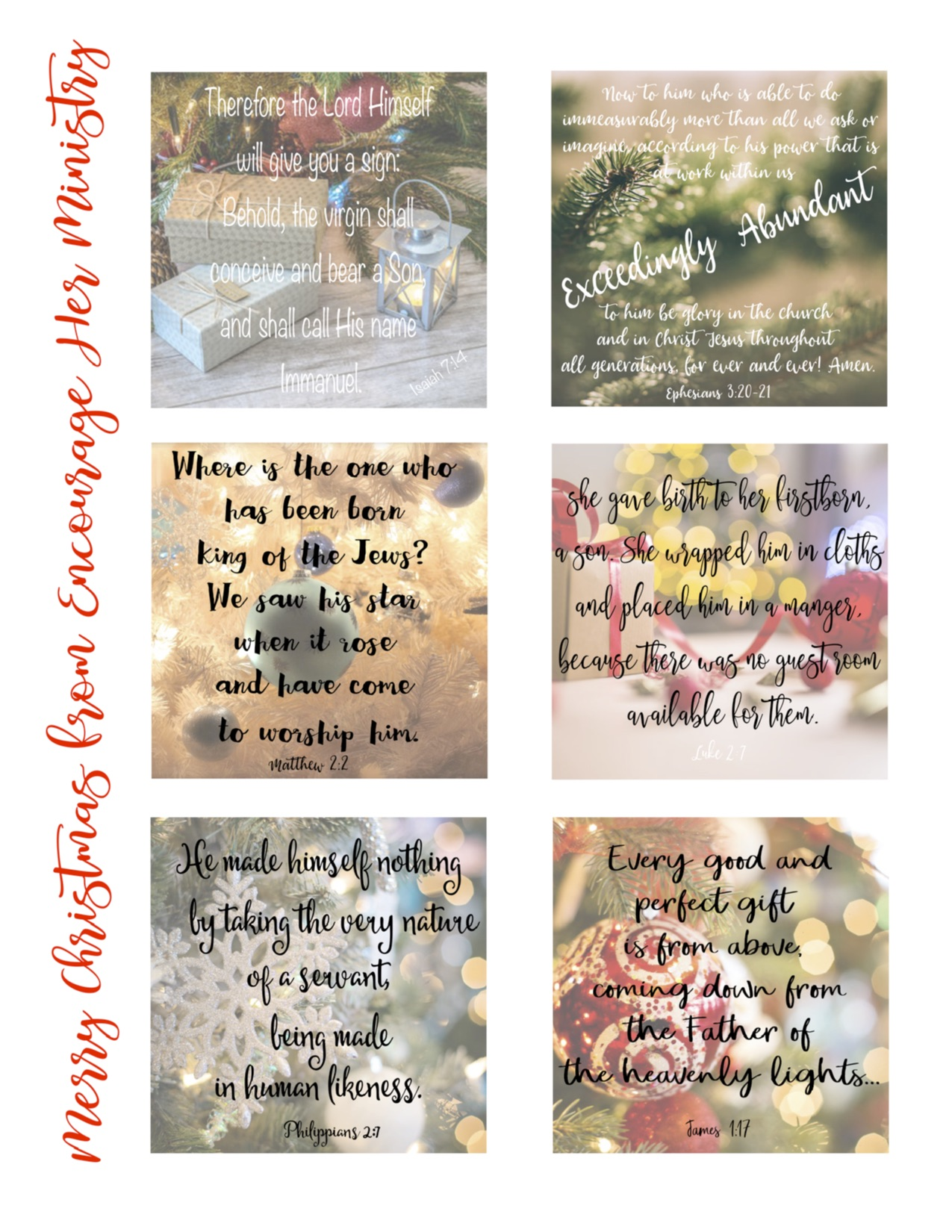 advent scripture cards encourage her ministry - Christmas Scripture For Cards