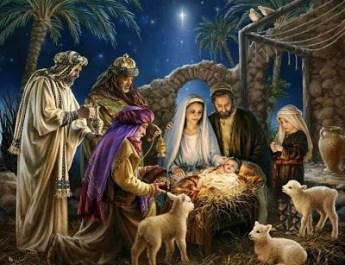 LOS REYES MAGOS VISITANDO A JESUS EN EL PESEBRE