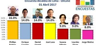 Elecciones 2018 │Encuesta Alcaldía de Lima – 01 de Abril 2017