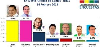 Encuesta Comas, IDICE – 16 Febrero 2018