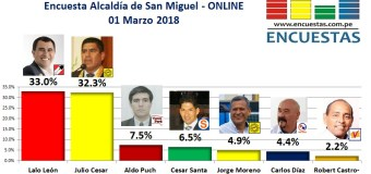 Encuesta Online Alcaldía de San Miguel – 01 Marzo 2018