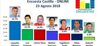 Encuesta Castilla, ONLINE – 23 Agosto  2018