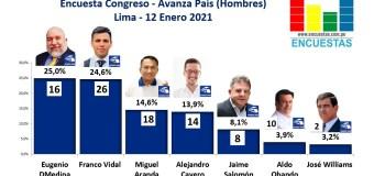 Encuesta Congresal, Avanza País (Hombres) – Online, 12 Enero 2021