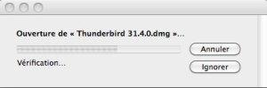 Ouverture du fichier d'installation Thunderbird