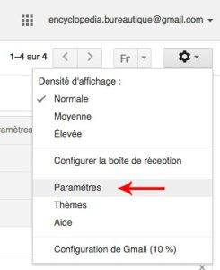 Accès aux paramètres gmail