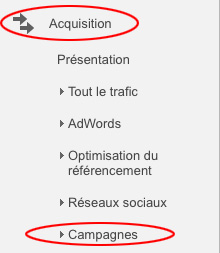 Onglet Acquisition > campagne, dans Google Analytics