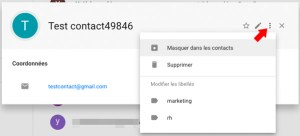 Options des contacts gmail