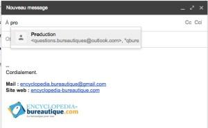 Gmail groupe de contacts dans un email