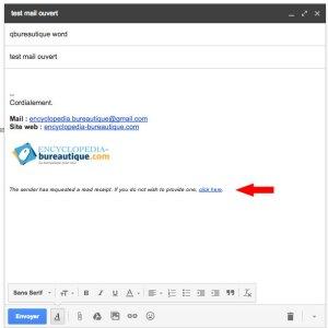 Message pour l'expéditeur d'annuler la confimation de l'ouverture de l'email