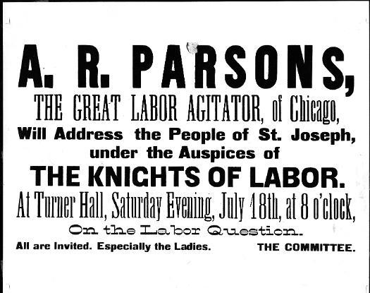 Notice of Speech by Albert Parsons
