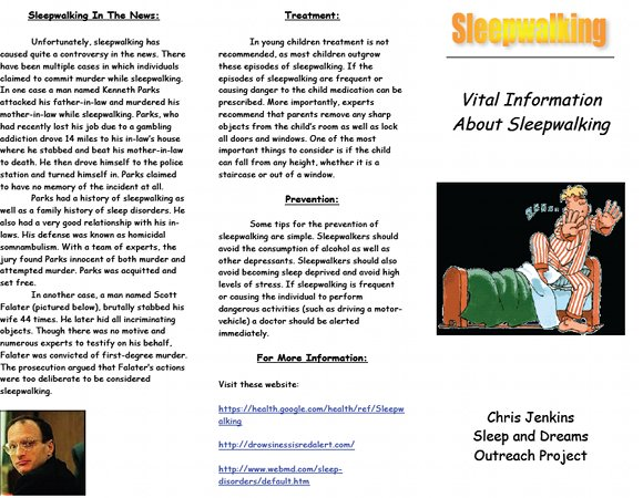Vital Information About Sleepwalking A Brochure By Chris Jenkins