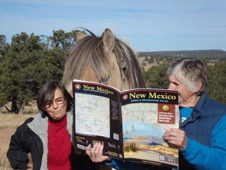 """Jeanetta Sturgeon our Pie Town hostess and Rosie arguing with Spirit about """"where to ride."""""""