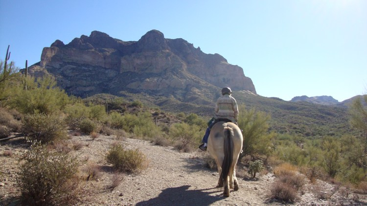 Now here we are..Rosie on Spirit with the Superstition Mountains in the background riding the Arizona Trail