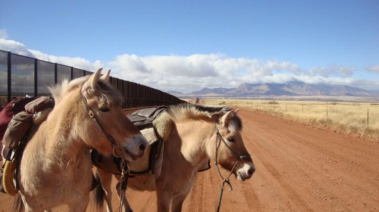 The United States/Mexico fence border near Palominas,AZ