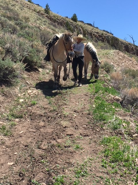 Me leading the horses down a VERY steep grade.