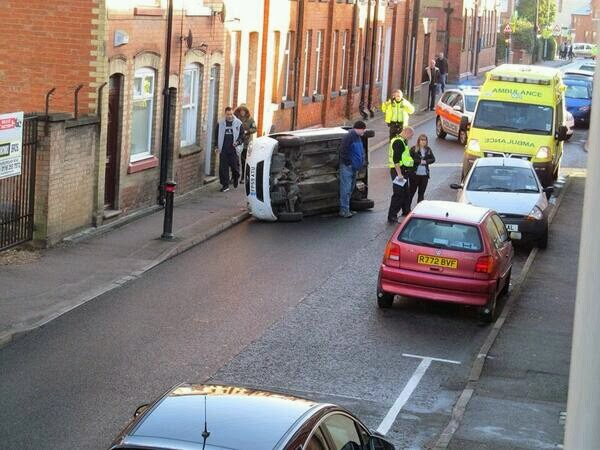 Overturned vehicle in King Street